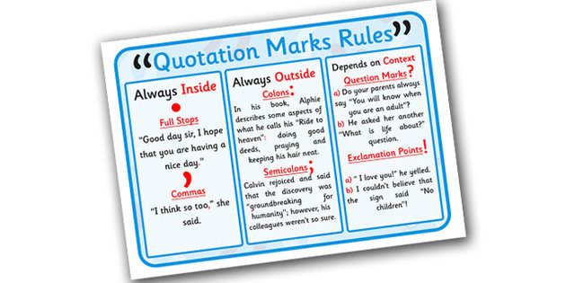 rules of quoting in an essay A rundown of the general rules of when and where to use quotation marks welcome to extended rules for quotation marks when quoting text with a spelling.